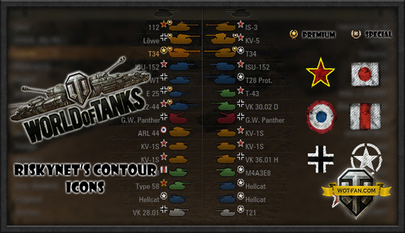 Colored Contour Icons для World of Tanks 0.9.17.0.3